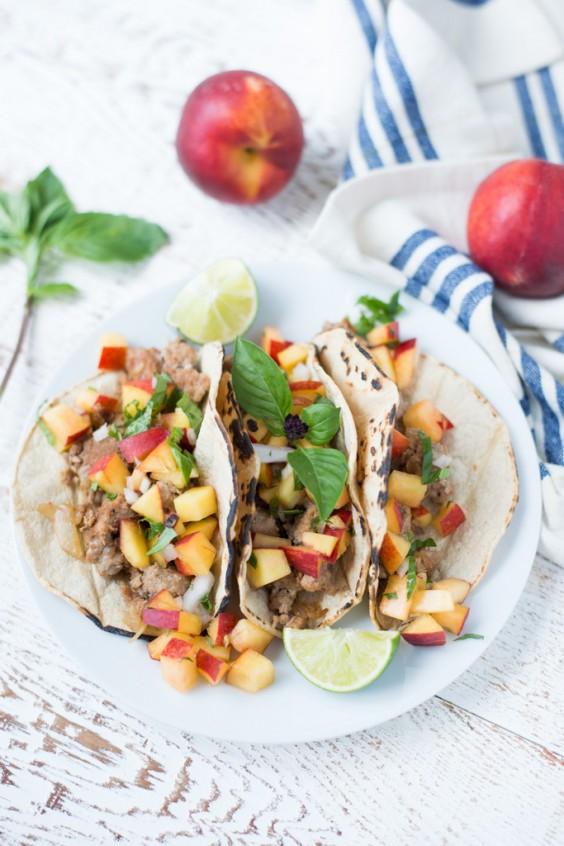 Healthy Tacos: 20 Minute Turkey With Peach-Basil Salsa