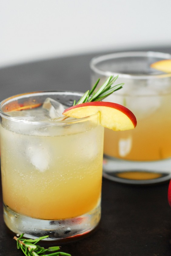 herb cocktails: Rosemary and Nectarine Whiskey Sour