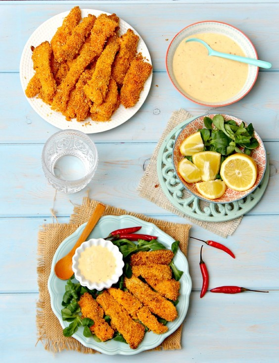 Cornmeal Parmesan Chili Crusted Salmon Fingers