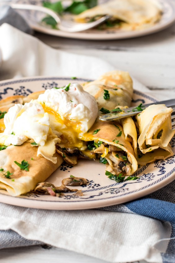 Savory Mushroom Crepes with Poached Eggs