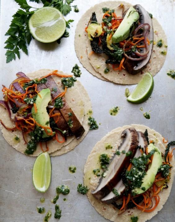 Healthy Tacos: Portobello With Veggie Hash and Chimichurri