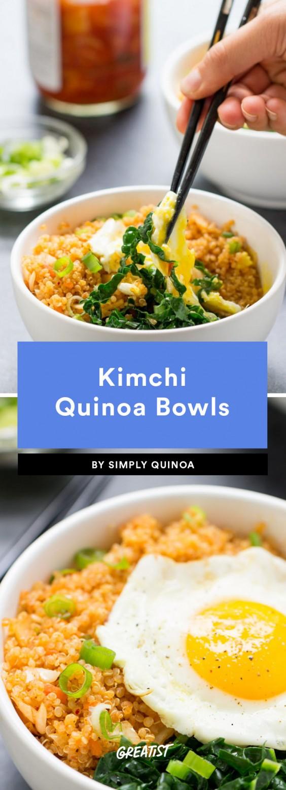 fifteen min veg dinner: Kimchi Quinoa Bowls