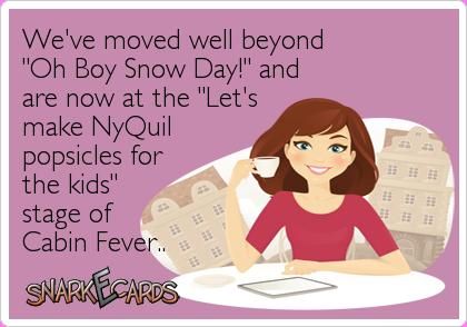 snow day cabin fever meme