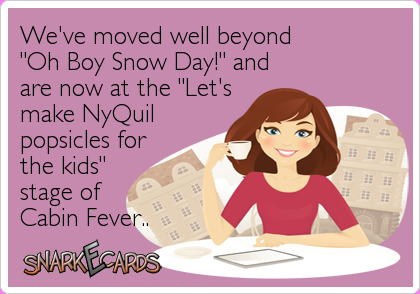 snow day cabin fever meme