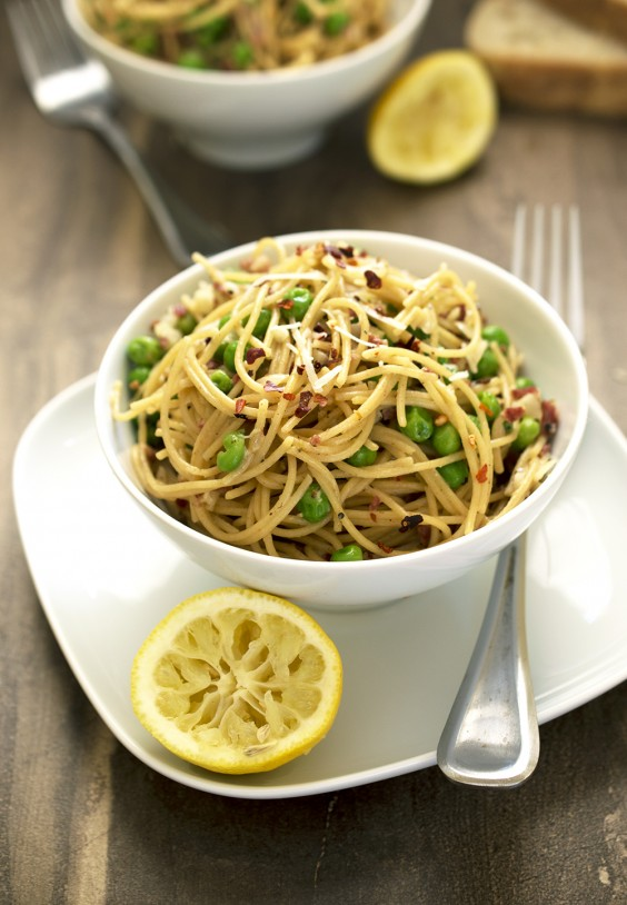 Spaghetti Pea Carbonara for One