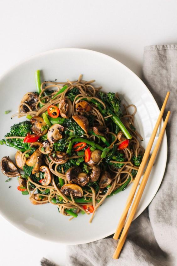 1. Roasted Teriyaki Mushrooms and Broccolini Soba Noodles