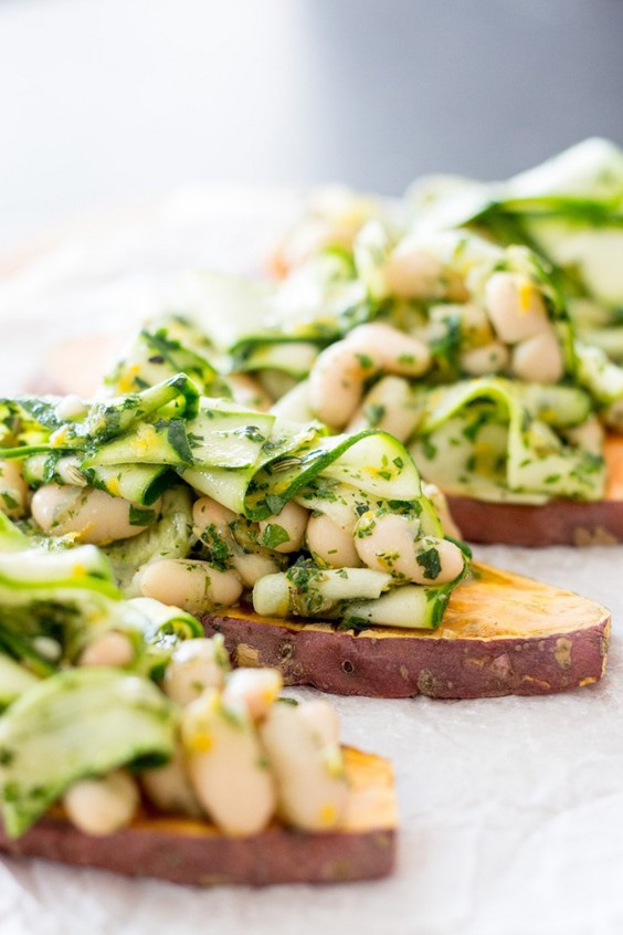 Sweet Potato Toast with Herby Beans