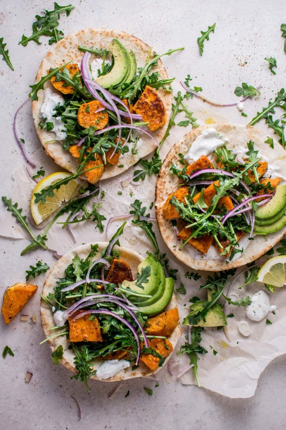 Dinner Party Ideas Vegetarian Part - 45: 3. Roasted Sweet Potato Pitas With Arugula And Garlic Dressing