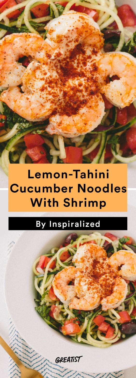 Inspiralized Roundup: Lemon-Tahini Cucumber Noodles With Shrimp