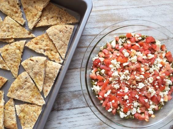 3-Ingredient Pesto Dip With Chips