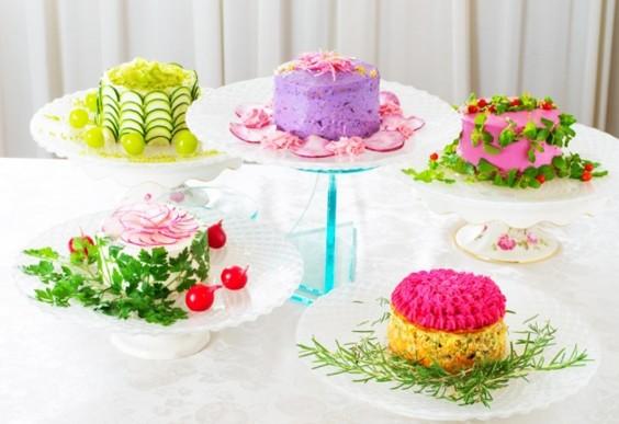 Healthy Food Art: Salad cake from Japanese café