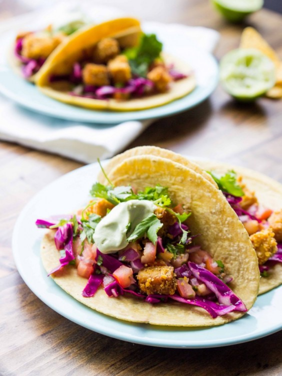 Healthy Tacos: Tortilla Chip Crusted Tempeh Tacos