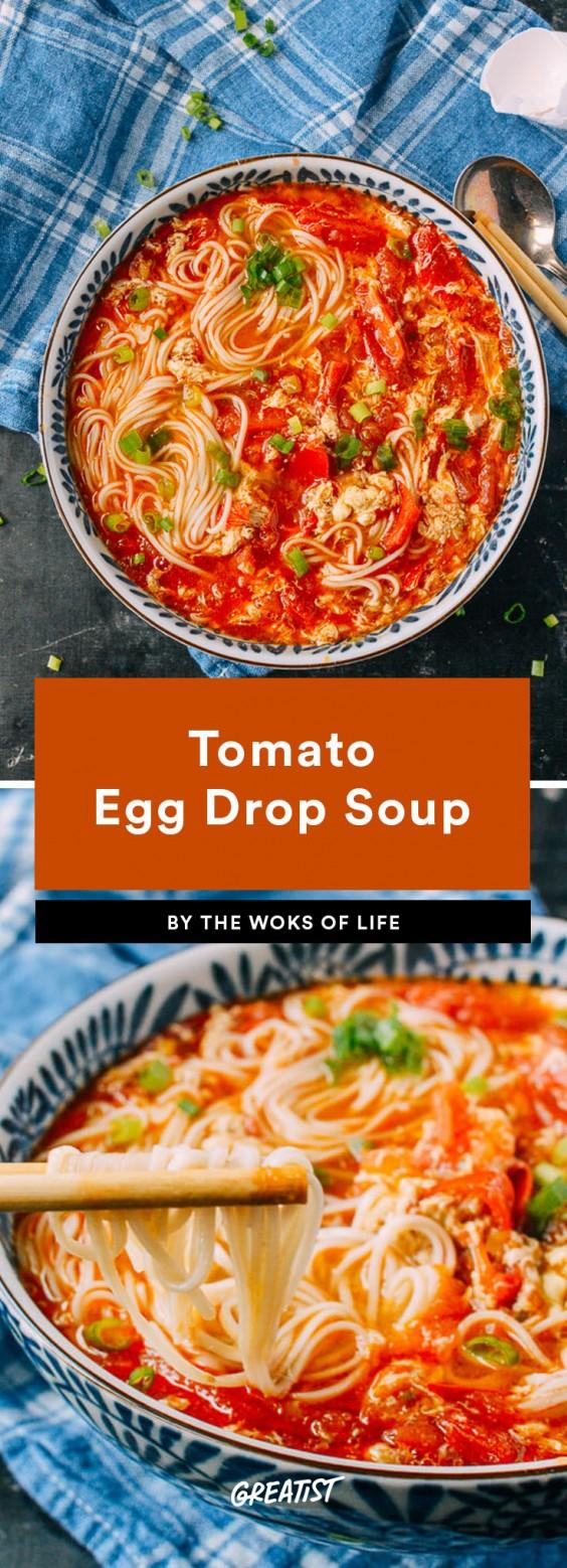 fifteen min veg dinner: Tomato Egg Drop Soup
