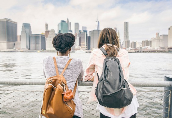 Women Looking at NYC Skyline