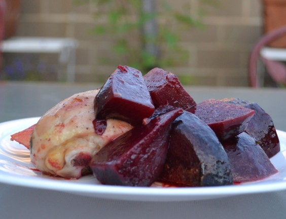 Apricot Roasted Chicken and Beets with Fall Vegetables
