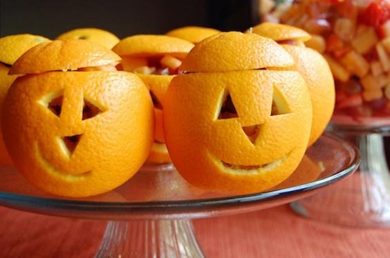 Orange Pumpkins Fruit Cups