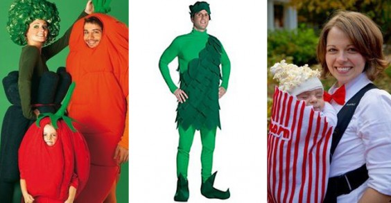 Healthy Halloween Costume Ideas: Veggie Fam, Green Giant Man, and Popcorn