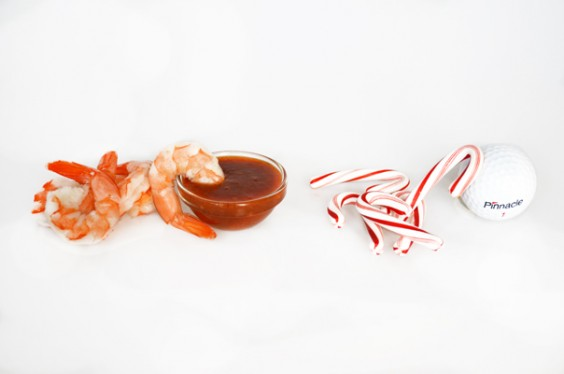 Shrimp Cocktail - Candy Canes and Golf Ball