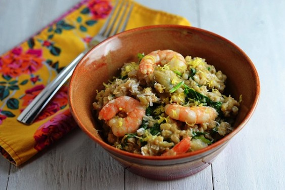 Shrimp and Artichoke Barley Risotto