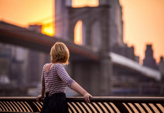 Young Woman by Brooklyn Bridge