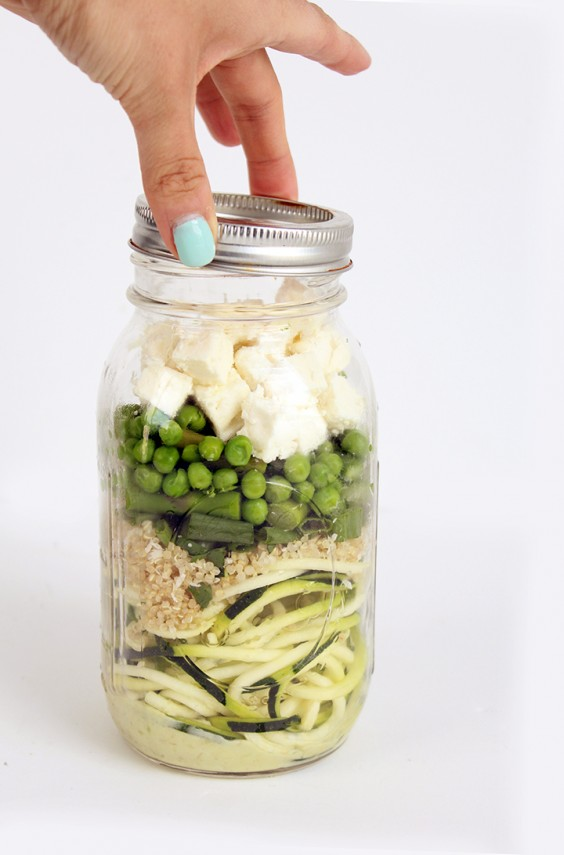Coconut-Lime Avocado Zucchini Noodle Salad With Quinoa, Peas, Asparagus, Scallions, and Feta