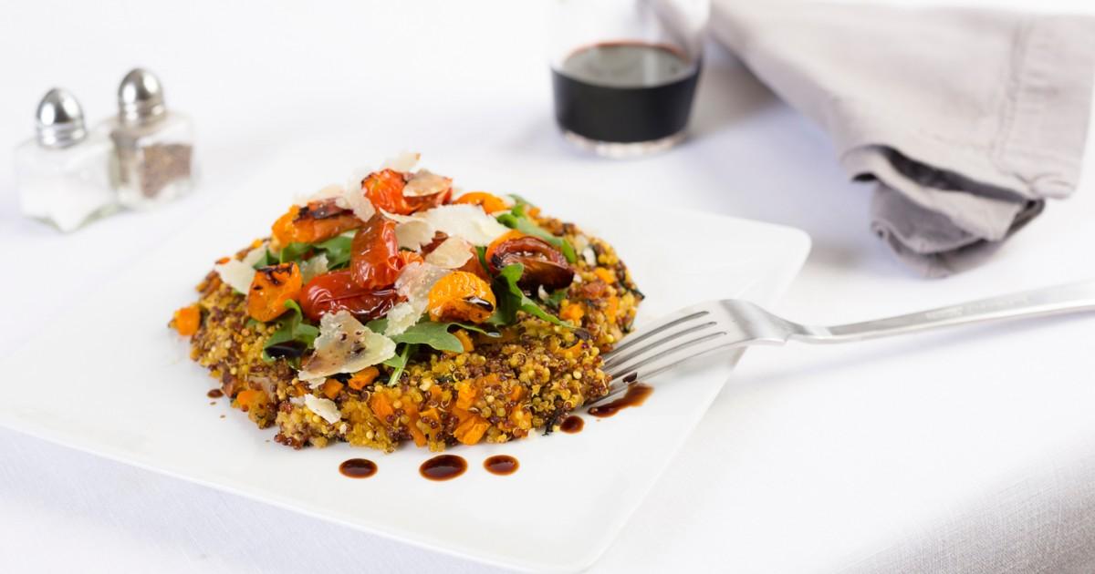 Quinoa Cakes Recipe with Arugula, Parmesan, Roasted Tomatoes