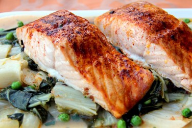 Roasted Salmon and Bok Choy