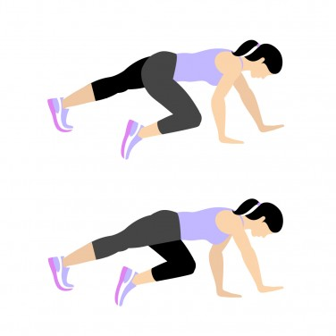 Illustration of a woman doing a bear crawl