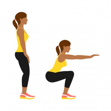 Illustration of a woman doing a squat
