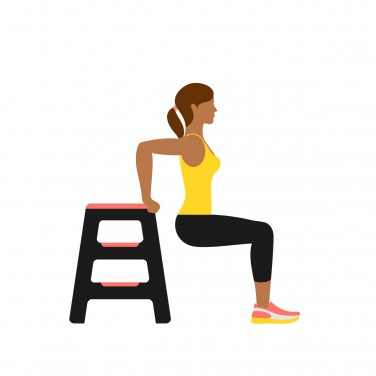 Illustration of a woman doing a tricep dip  12 Minutes to a Stronger You (in Just 3 Moves) 7MinWorkout June TricepsDip 0