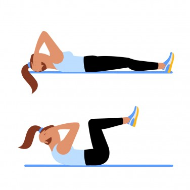 Illustration of a woman doing knee-in crunches  12 Minutes to a Stronger You (in Just 3 Moves) 7MinWorkout May Moves KneeInCrunches 0