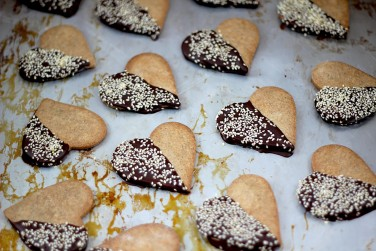 10. Buckwheat Shortbread Hearts Dipped in Chocolate