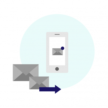 Icon of a cellphone receiving emails