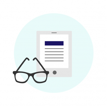 Icon of eyeglasses and an e-reader