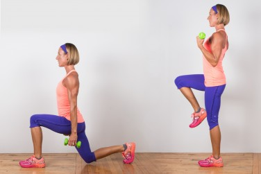 2A. Reverse Lunge With Biceps Curl