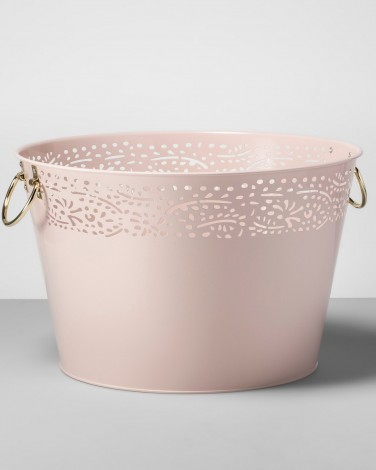 White and Gold Steel Beverage Tub