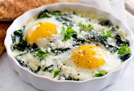 Brunch Recipes: Baked Eggs with Spinach and Swiss Chard