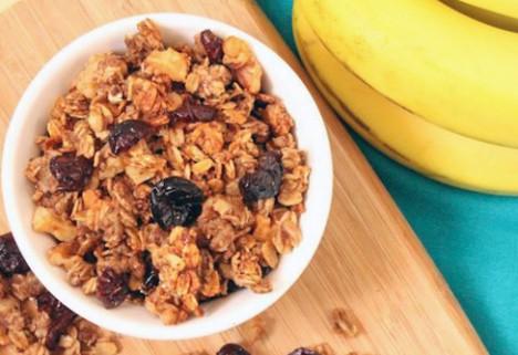 Banana, Walnut, and Cranberry Granola*