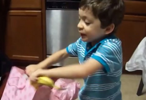 Video of a Boy's Amazing Reaction to Getting a Banana as a Gift