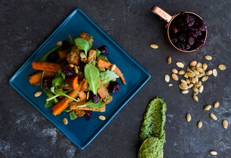 Roasted Carrots With Kale-Pumpkin Seed Pesto