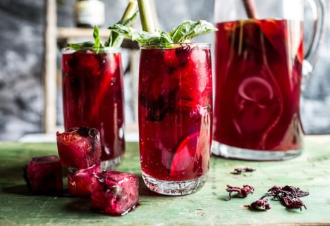 Hibiscus Lemongrass Basil Sweet Iced Tea