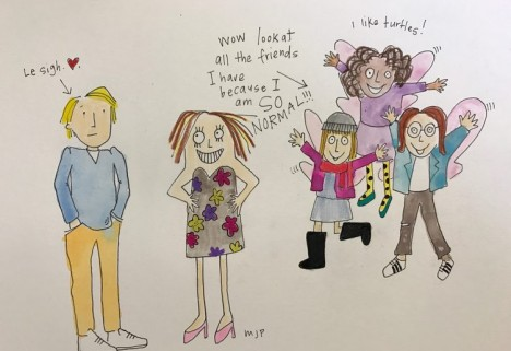 An illustration of a bunch of pixies in kooky tights and scarves fluttering around Joseph Gordon-Levitt's head.