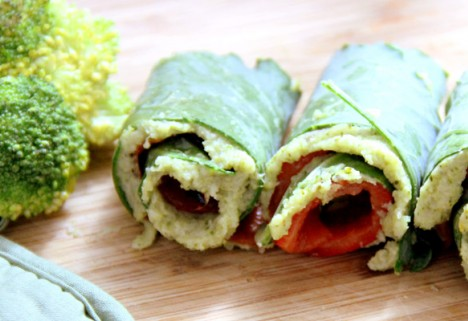 Kale, Red Pepper, and Broccoli Spread Roll-Up