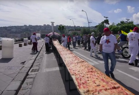 Longest Pizza in the World in Naples, Italy