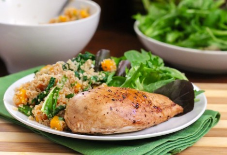 Maple Balsamic Chicken With Butternut Squash Quinoa Pilaf