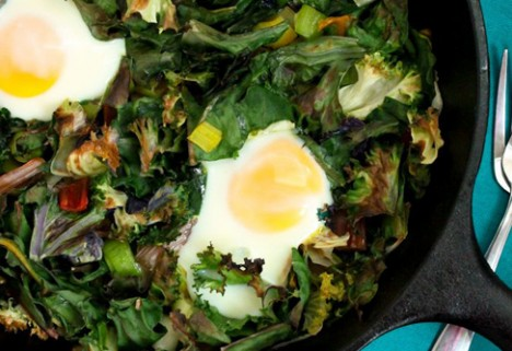 Garlicky Eggs and Greens*