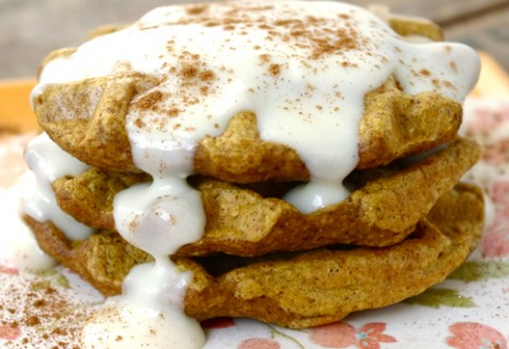 Gluten-Free Pumpkin Cheesecake Waffles
