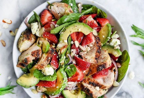 Strawberry, Avocado, and Chicken Spinach Salad