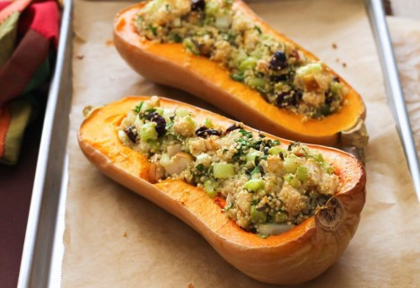 Twice-Baked Quinoa-Stuffed Butternut Squash