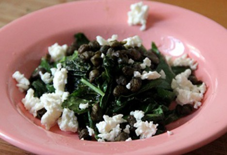 Wilted Kale with Fried Capers and Feta Cheese